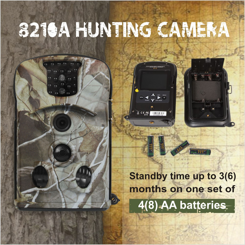 Wifi Mini Security Low Price CCTV Night Vision 8210a Light Camo Hunting Chasse Video Camera